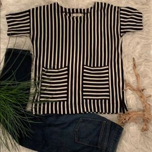 GUC Madewell black & white striped boxy tee (S)